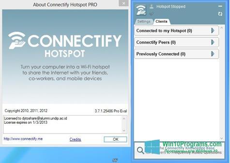 Скриншот программы Connectify Hotspot для Windows 10