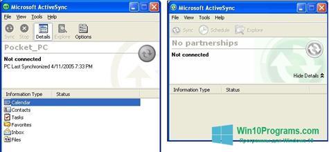 Скриншот программы Microsoft ActiveSync для Windows 10