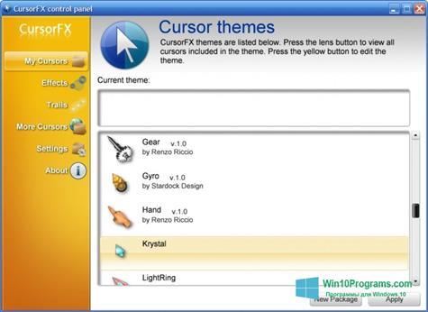 Скриншот программы CursorFX для Windows 10
