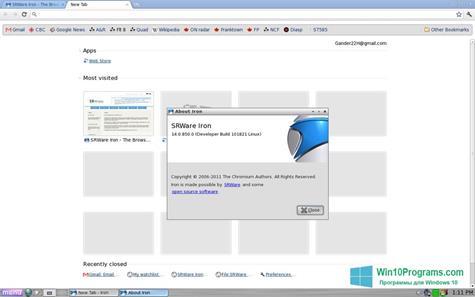 Скриншот программы SRWare Iron для Windows 10