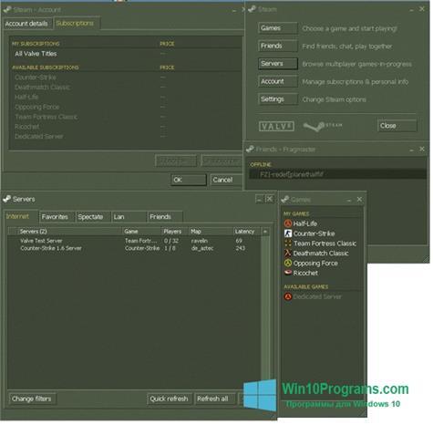 Скриншот программы Steam для Windows 10
