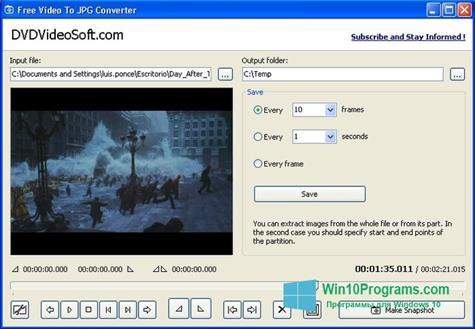 Скриншот программы Free Video to JPG Converter для Windows 10