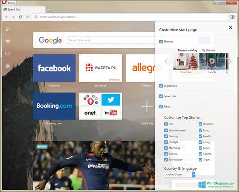 Скриншот программы Opera Developer для Windows 10