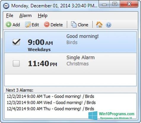 Скриншот программы Free Alarm Clock для Windows 10
