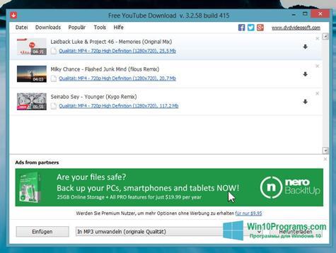 Скриншот программы FreeYouTubeDownload для Windows 10