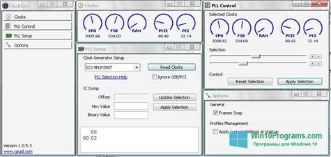 Скриншот программы ClockGen для Windows 10