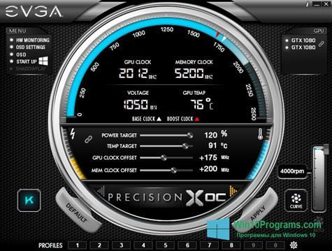 Скриншот программы EVGA Precision для Windows 10