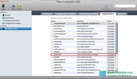Скриншот программы iPhone Configuration Utility для Windows 10