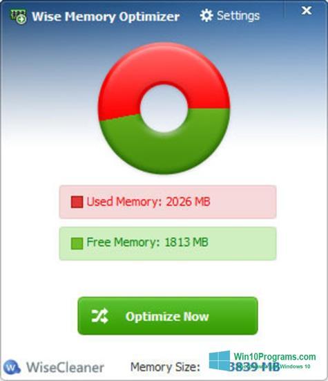 Скриншот программы Wise Memory Optimizer для Windows 10
