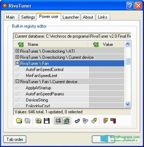 Скриншот программы RivaTuner для Windows 10