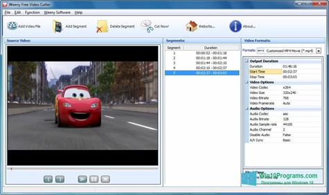 Скриншот программы Free Video Cutter для Windows 10