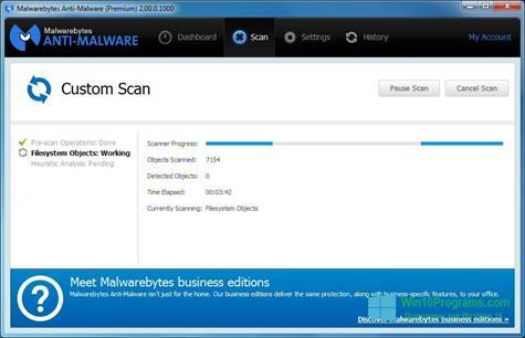 Скриншот программы Malwarebytes Anti-Malware для Windows 10