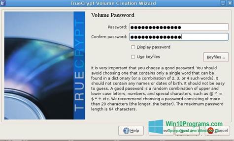 Скриншот программы TrueCrypt для Windows 10