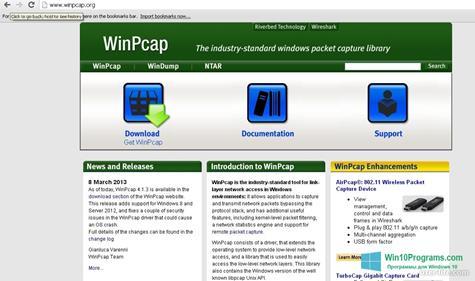 Скриншот программы WinPcap для Windows 10