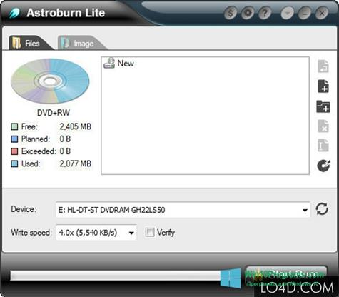 Скриншот программы Astroburn Lite для Windows 10