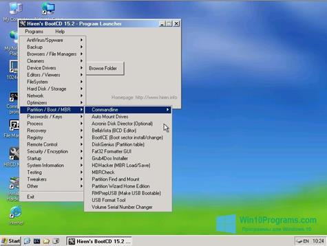 Скриншот программы Hirens Boot CD для Windows 10