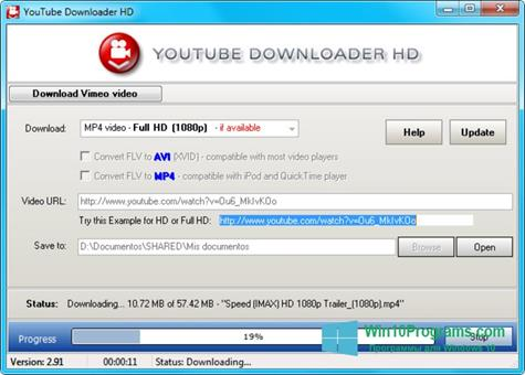 Скриншот программы Youtube Downloader HD для Windows 10