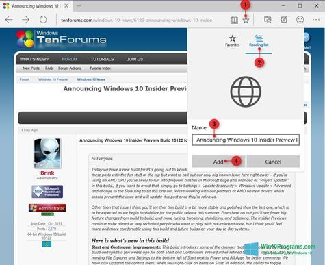 Скриншот программы Microsoft Edge для Windows 10