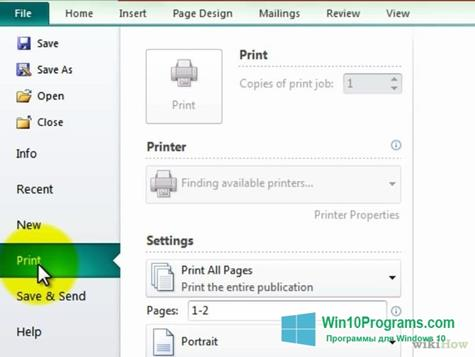 Скриншот программы Microsoft Publisher для Windows 10