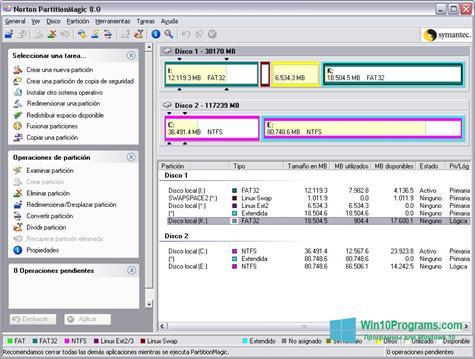 Скриншот программы Norton Partition Magic для Windows 10