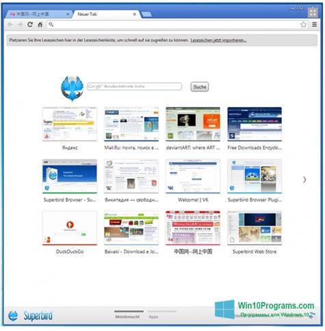 Скриншот программы Superbird для Windows 10