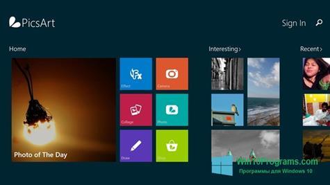 Скриншот программы PicsArt для Windows 10