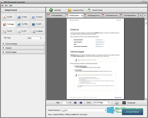 Скриншот программы AVS Document Converter для Windows 10