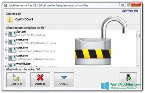 Скриншот программы LockHunter для Windows 10
