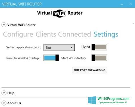 Скриншот программы Virtual WiFi Router для Windows 10