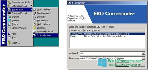 Скриншот программы ERD Commander для Windows 10
