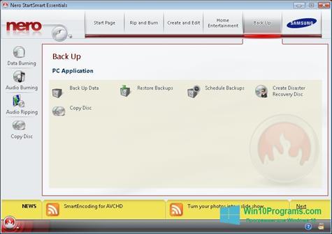Скриншот программы Nero для Windows 10
