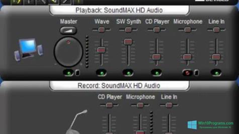 Скриншот программы SoundMAX для Windows 10