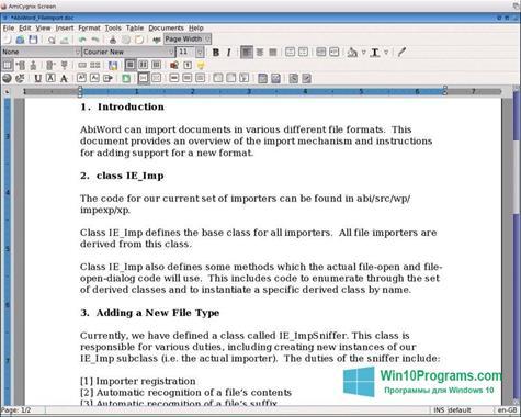 Скриншот программы AbiWord для Windows 10