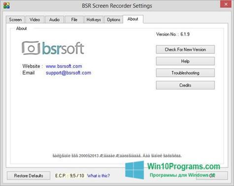 Скриншот программы BSR Screen Recorder для Windows 10