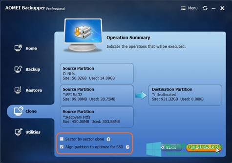 Скриншот программы AOMEI Backupper для Windows 10