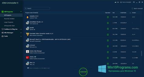 Скриншот программы IObit Uninstaller для Windows 10