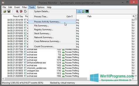 Скриншот программы Process Monitor для Windows 10