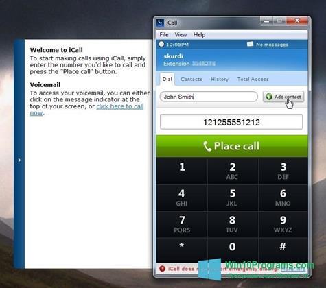 Скриншот программы iCall для Windows 10