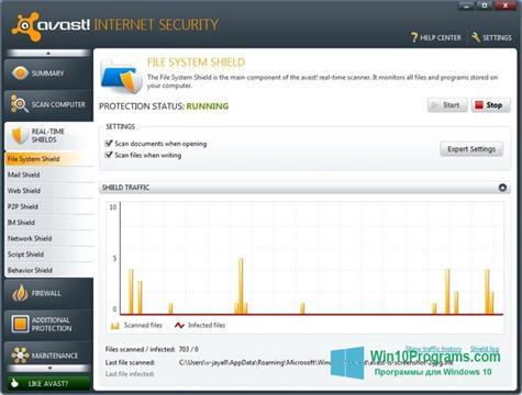 Скриншот программы Avast Internet Security для Windows 10