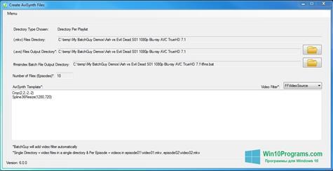 Скриншот программы AviSynth для Windows 10