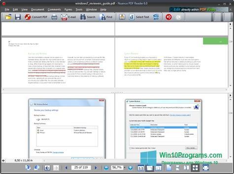 Скриншот программы Nuance PDF Reader для Windows 10
