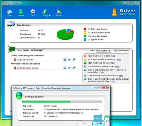 Скриншот программы Driver Detective для Windows 10