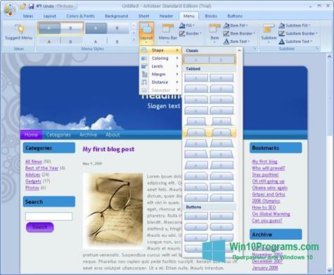 Скриншот программы Artisteer для Windows 10