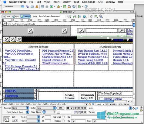 Скриншот программы Macromedia Dreamweaver для Windows 10