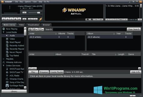 Скриншот программы Winamp Pro для Windows 10