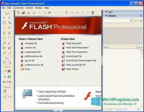 Скриншот программы Macromedia Flash Player для Windows 10