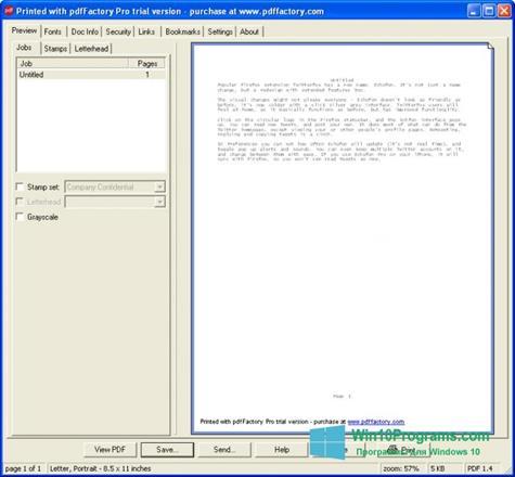 Скриншот программы pdfFactory Pro для Windows 10