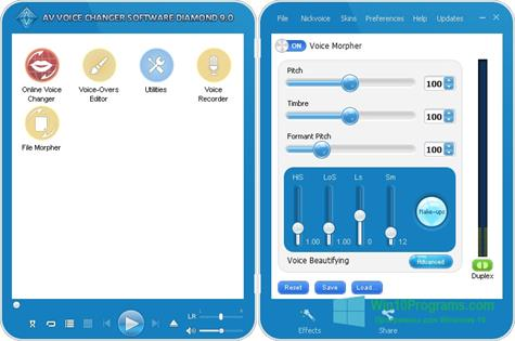 Скриншот программы AV Voice Changer Diamond для Windows 10
