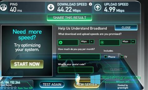 Скриншот программы SpeedTest для Windows 10