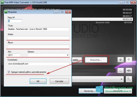 Скриншот программы Free MP4 Video Converter для Windows 10